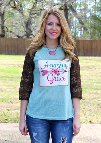 Amazing Grace Mint Baseball Tee with Brown Lace Sleeves
