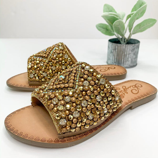 Susanna Embellished Slide Sandal in Gold