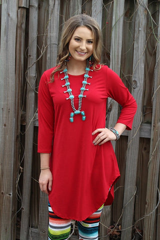 Been There 3/4 Sleeve Tunic in Red