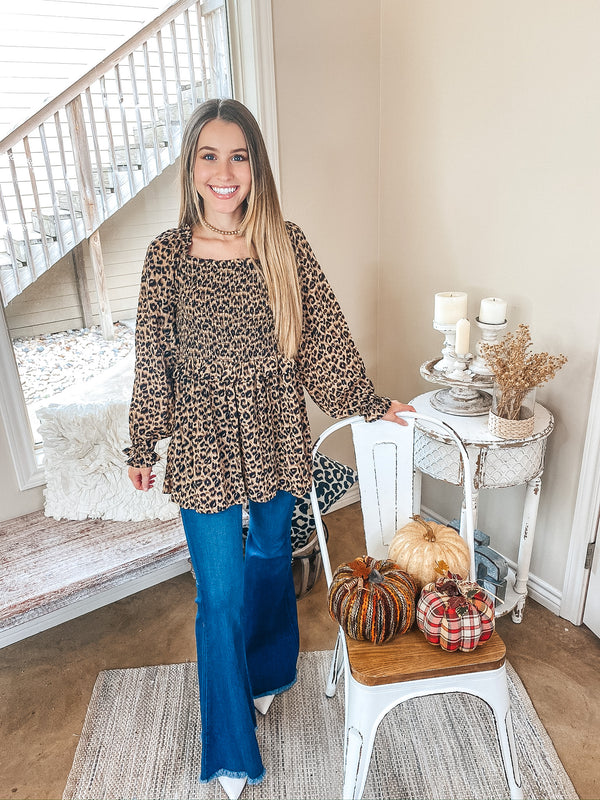 Endless Love Square Neck Smocked Bodice Babydoll Blouse with Long Sleeves in Leopard
