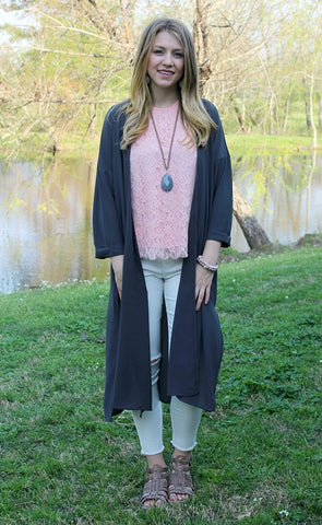 Casual Days Solid Duster Kimono in Charcoal Grey