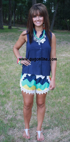 Life is Short Yellow Chevron Shorts with White Lace Trim