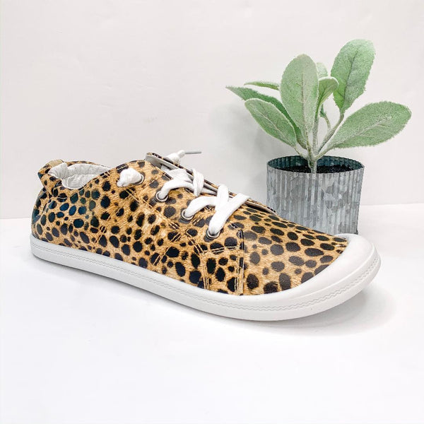 Summer Laced Slip On Sneakers in Leopard