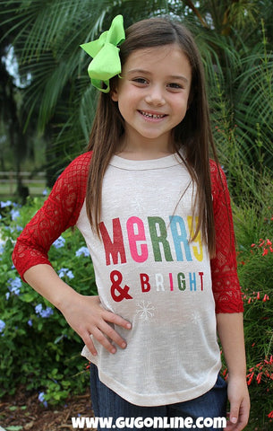 Kids Merry and Bright Christmas Baseball Tee