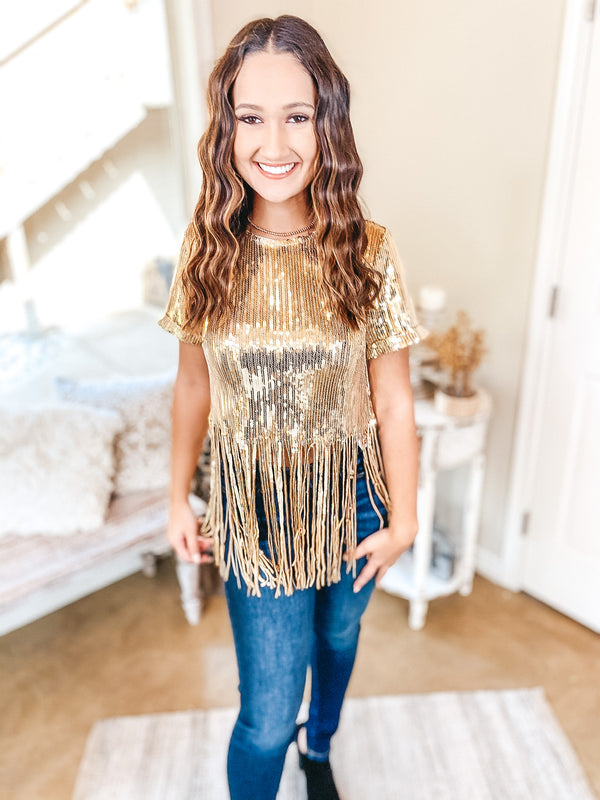 Stealing Glances Short Sleeve Sequin Crop Top with Fringe in Gold