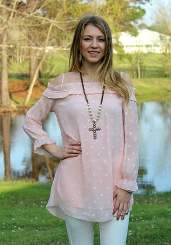 Basics of Love Chenille Off Shoulder Tunic in Light Pink