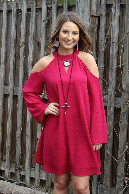 You'll Be Mine Cold Shoulder Shift Dress in Fuchsia