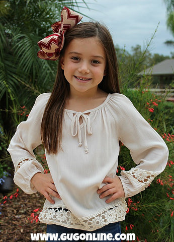 Kids The Extra Mile Ivory Top with Ivory Flower Crochet Detailing