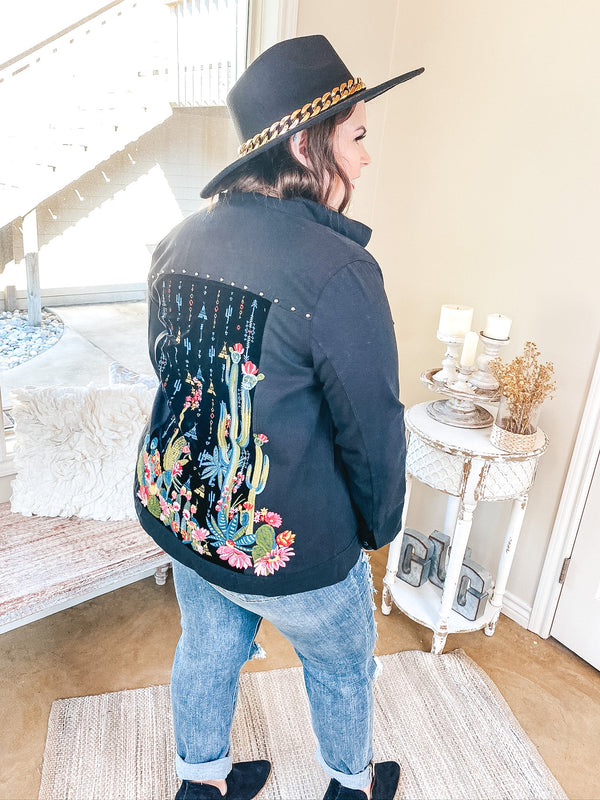 Painted Desert Button Up Jacket with Velvet and Cactus Embroidered Back in Black