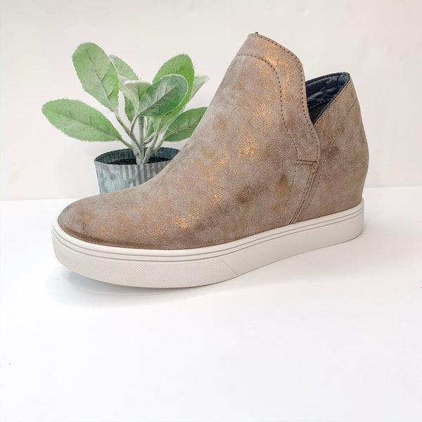 Corky's | So Chic Metallic Heeled Sneakers in Bronze