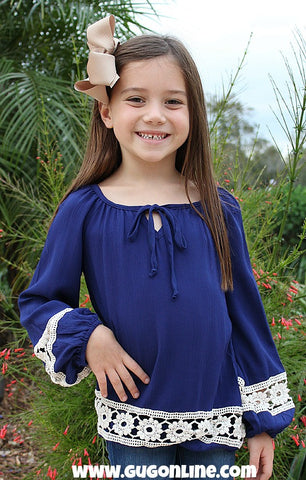 Kids The Extra Mile Navy Top with Ivory Flower Crochet Detailing