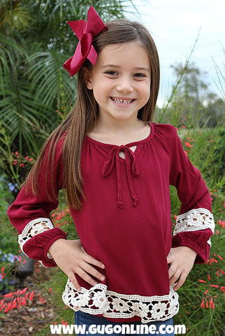 Kids The Extra Mile Burgundy Top with Ivory Flower Crochet Detailing