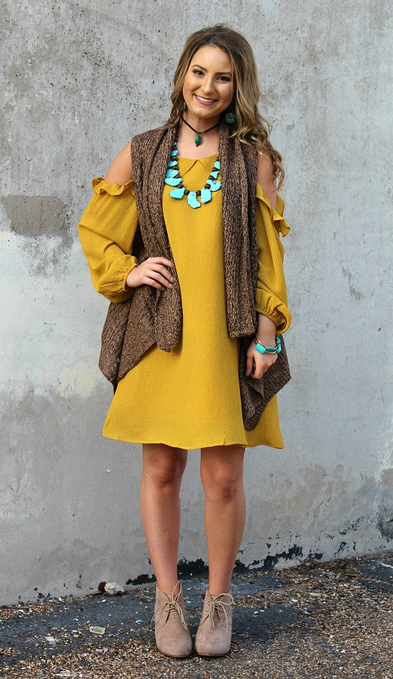 Ambitious Ways Cold Shoulder Dress in Mustard