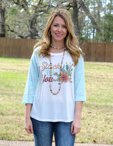 Stuck On You Cactus White Baseball Tee with Aqua Sleeves