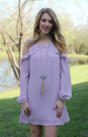 Ambitious Ways Cold Shoulder Dress in Lavender