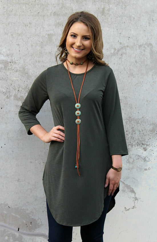 Been There 3/4 Sleeve Tunic in Olive Green