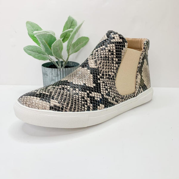 SIZE 6 AND 8 | All in Favor Slip On High Top Sneakers in Snakeskin