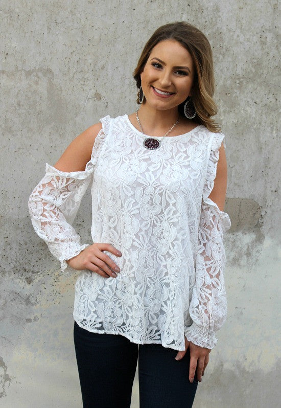 Just an Attraction Lace Cold Shoulder Blouse in Ivory