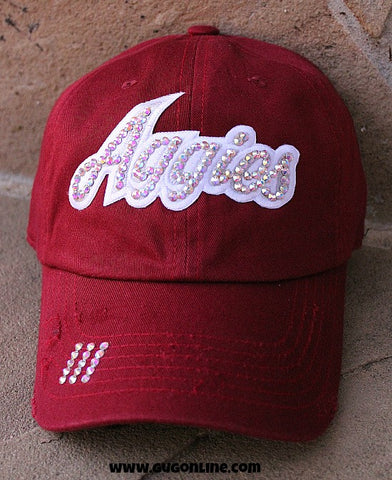 Aggies in AB Swarovski Crystals on Distressed Maroon Baseball Cap