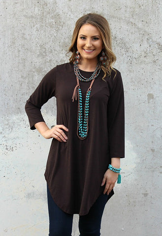 Been There 3/4 Sleeve Tunic in Brown