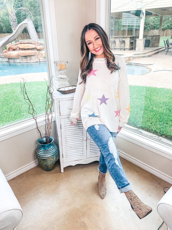 New Love Long Sleeve Knit Sweater with Multi Color Stars in Ivory