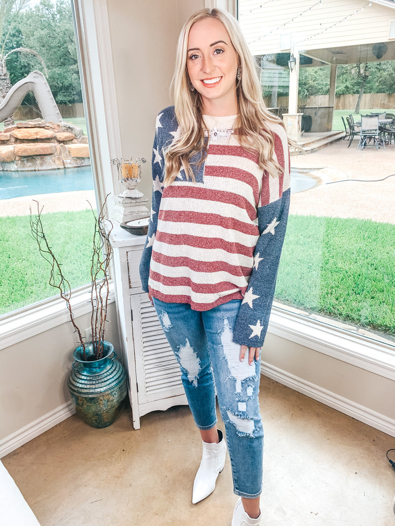 American Dreamer Long Sleeve American Flag Sweater in Red, Ivory, and Blue