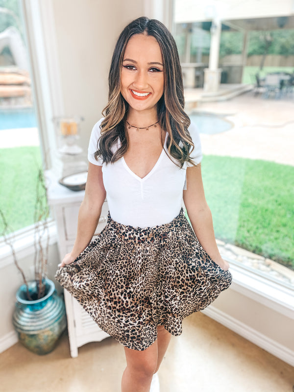 Eyes On Me Pleated High Waisted Mini Skirt in Leopard