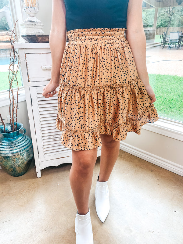 Dress The Part Dotted Tiered Skirt in Camel Brown