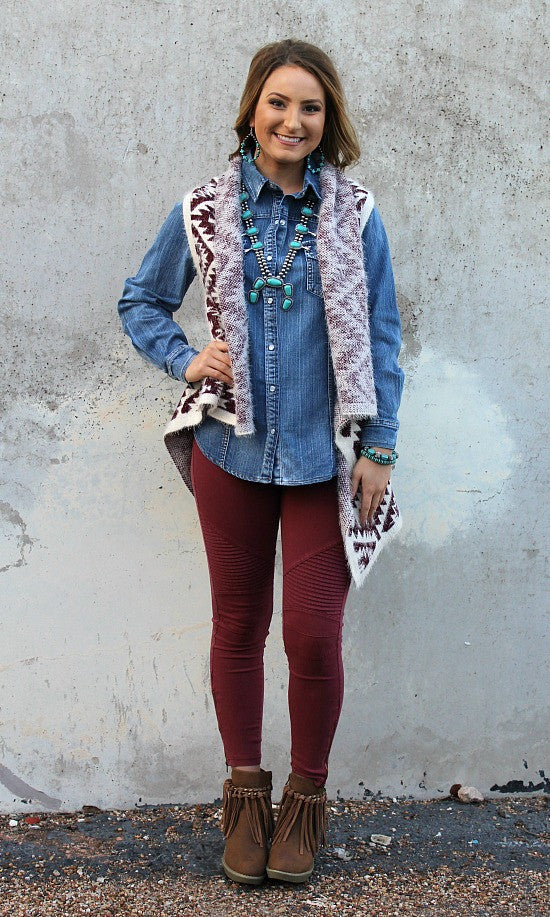 Easy To See Moto Jeggings in Maroon