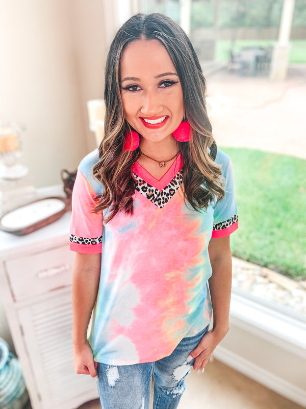 Easily Bright Neon Pink and Leopard Trim V Neck Top in Tie Dye