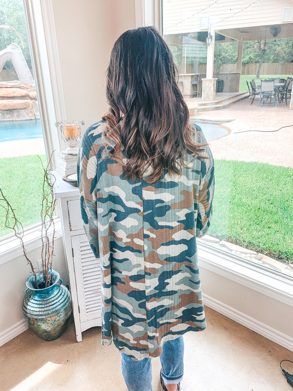 Don't Wait Up 3/4 Sleeve Open Front Cardigan in Camouflage