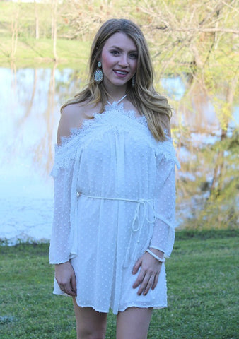 Ballad of Love Chenille Off Shoulder Dress in White