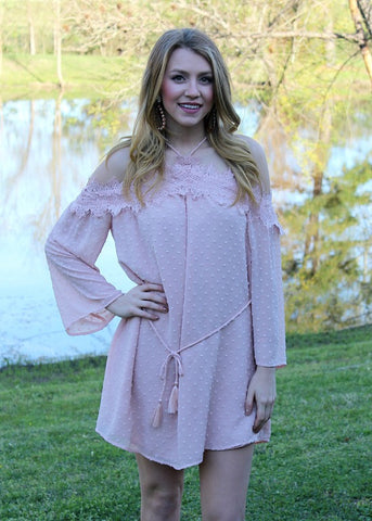 Ballad of Love Chenille Off Shoulder Dress in Light Pink