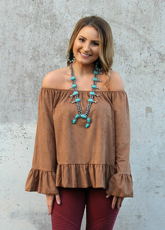 Chic and Sleek Off Shoulder Suede Ruffle Top in Camel