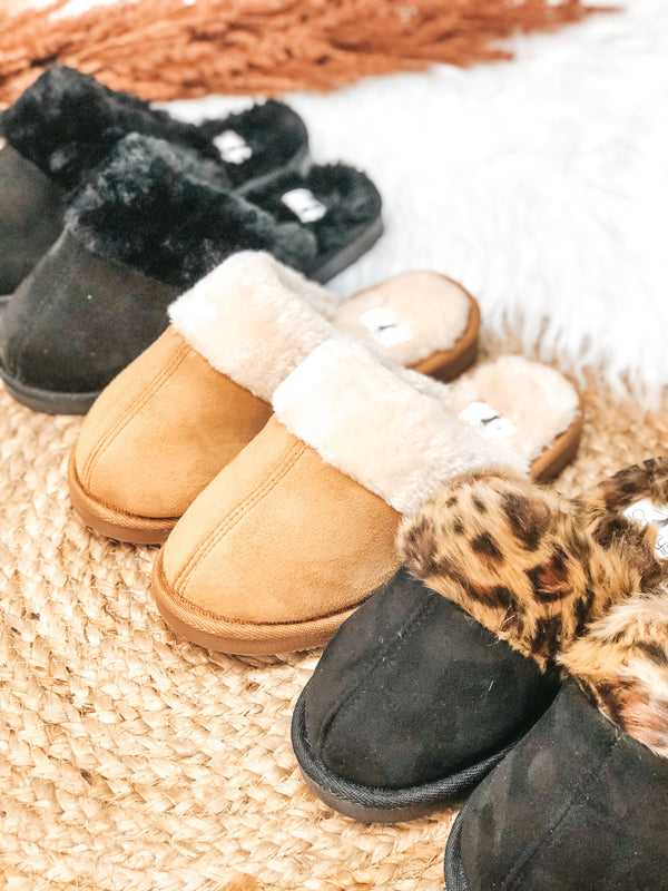 Corky's | Hitting Snooze Slide On Slippers with Leopard Furry Lining in Black