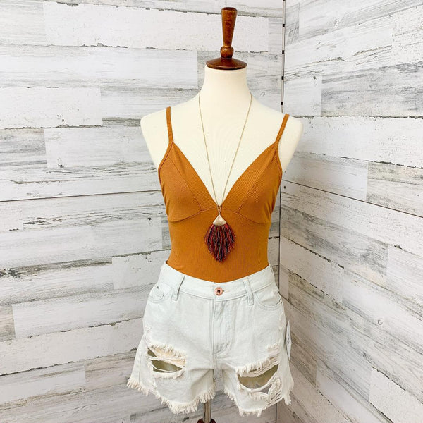 We'll Always Have Summer Criss Cross Back Ribbed Bodysuit in Mustard Yellow