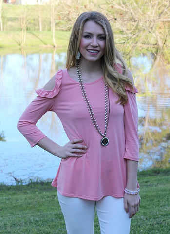 Just the Beginning Cold Shoulder Top in Coral