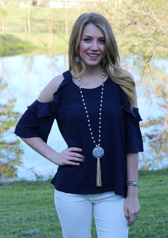Stylish Surprise Cold Shoulder Blouse in Navy Blue