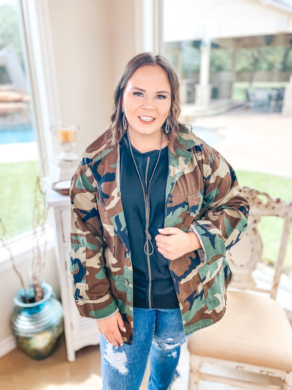 Rock N' Roll Camouflage Cargo Jacket with Sequin Tongue Graphic in Red