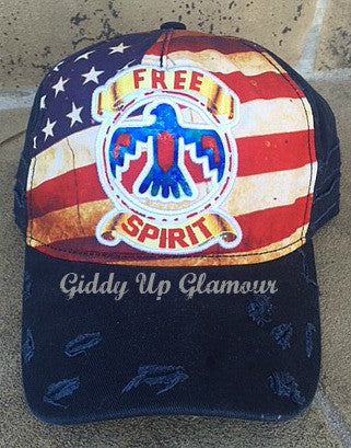 Distressed Free Spirit Flag Baseball Cap