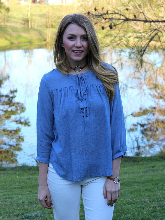 A Shift in Time Lace Up Top in Blue