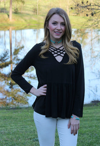 Softest Splendor Tiered Top with Caged Neckline in Black