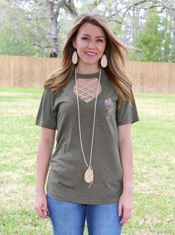 Maya Serape Cactus Short Sleeve Tee with Keyhole Cut Out in Olive Green