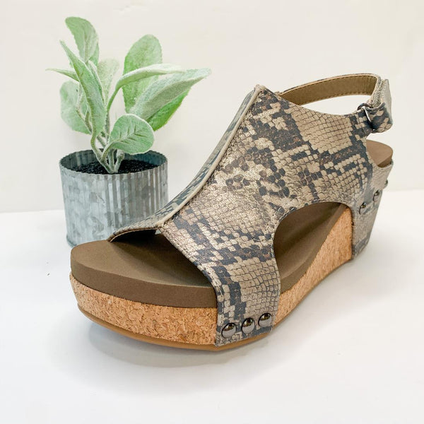 Corky's | Onto The Next Step Wedges in Snakeskin
