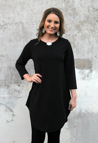 Been There 3/4 Sleeve Tunic in Black