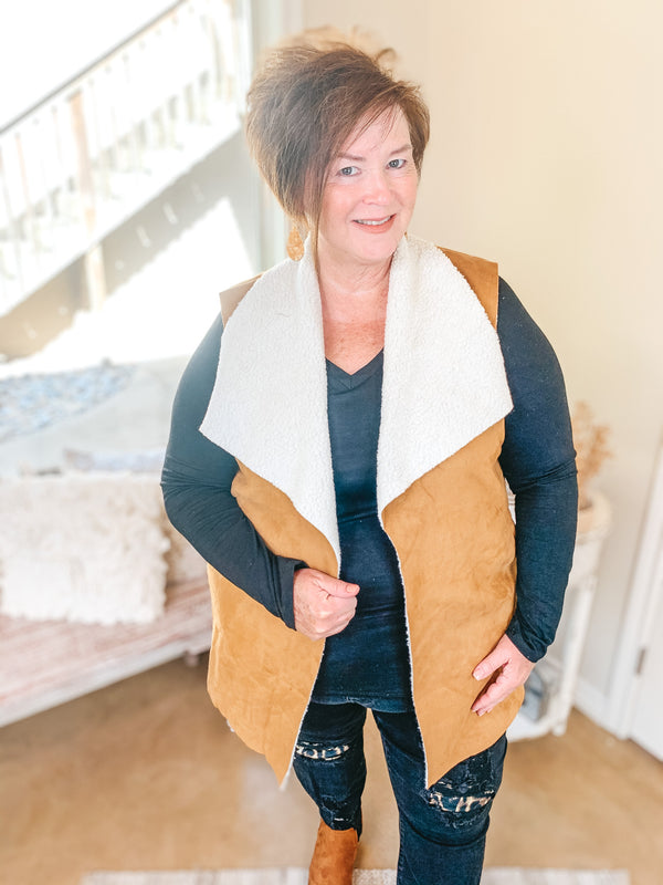 Stylish Vision Faux Buckskin Vest with Sherpa Lining