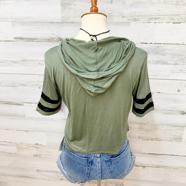 Give It a Rest Short Sleeve Hoodie Crop top in Army Green