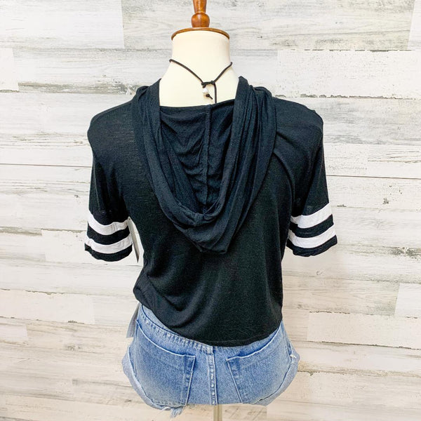 Give It a Rest Short Sleeve Hoodie Crop top in Black