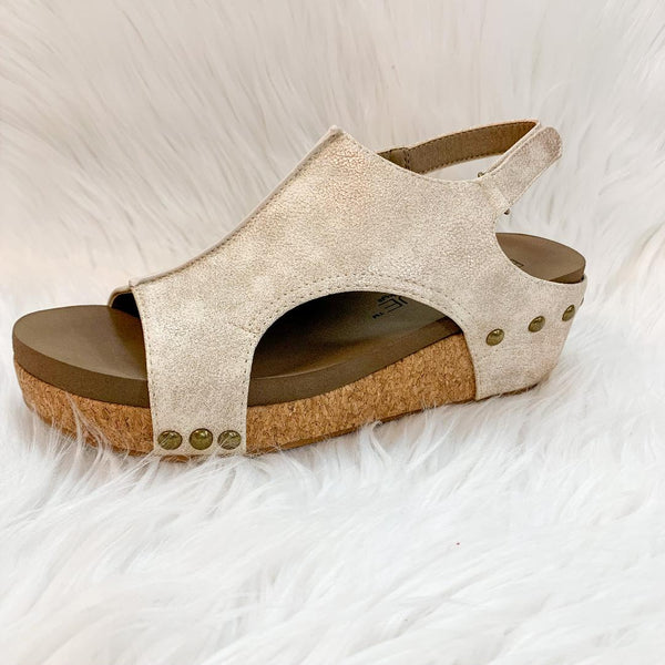 Corky's | Volta Platform Wedges in Distressed Gold - Size 6