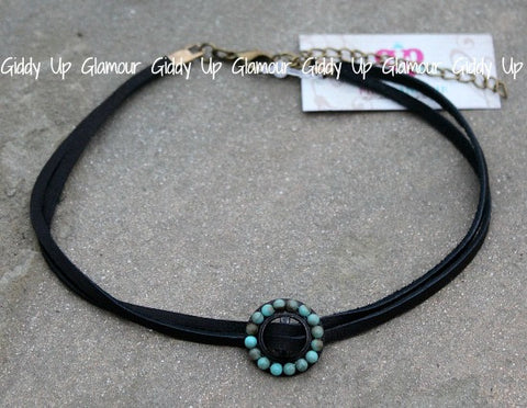 Pink Panache Black Choker Necklace with Turquoise Slider